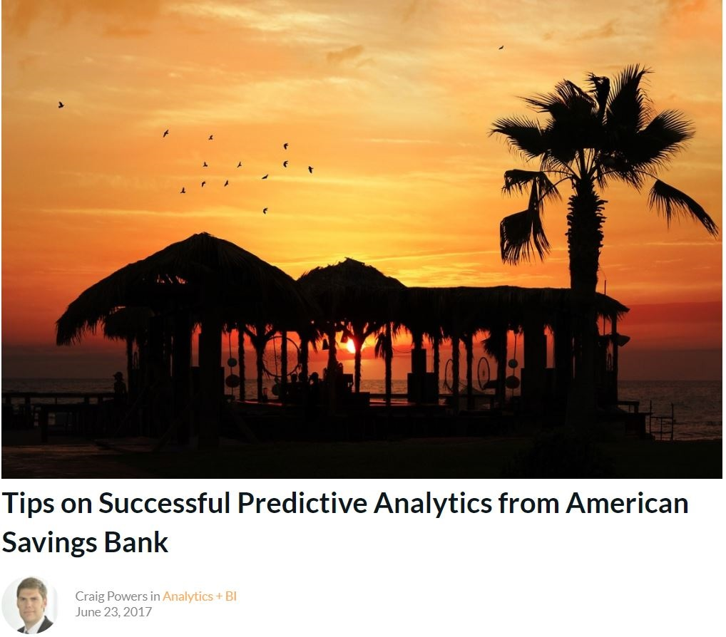 Tips on Successful Predictive Analytics from American Savings Bank