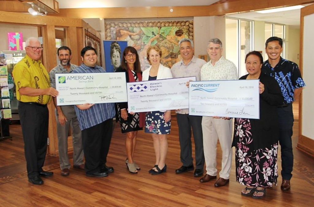 The North Hawai'i Community Hospital was awarded a grant of $50,000 for its emergency room renovation and expansion project thanks to the generosity of American Savings Bank, Hawai'i Electric Light and Pacific Current.