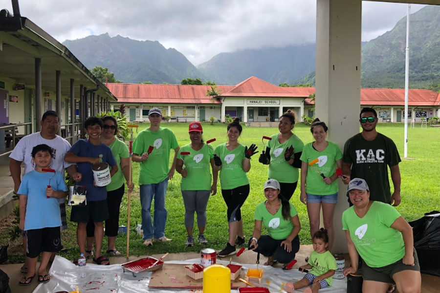 On Kauai, volunteers assisted Hanalei Elementary School with recovery efforts from the recent floods