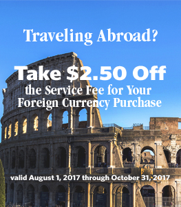 Traveling Abroad?  Take $2.50 Off