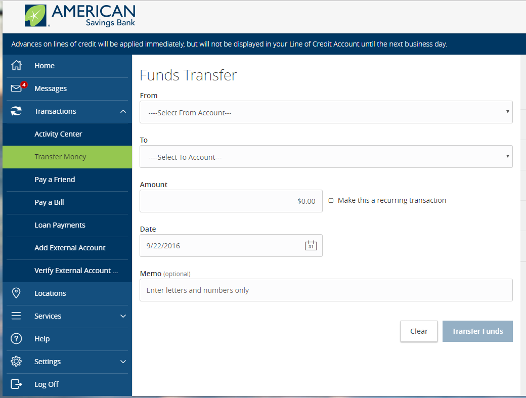 Enter The Amount And Date Of Transaction With An Optional Memo Click On Transfer Funds After This You Will Be Asked To Authorize