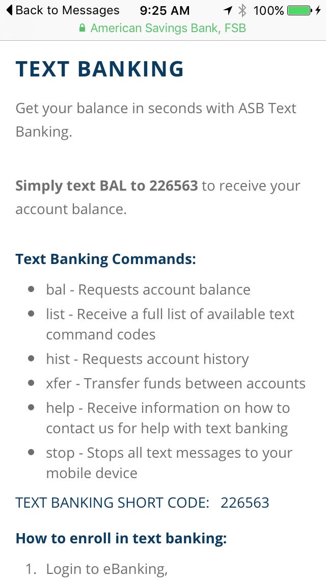 Text Banking | American Savings Bank Hawaii
