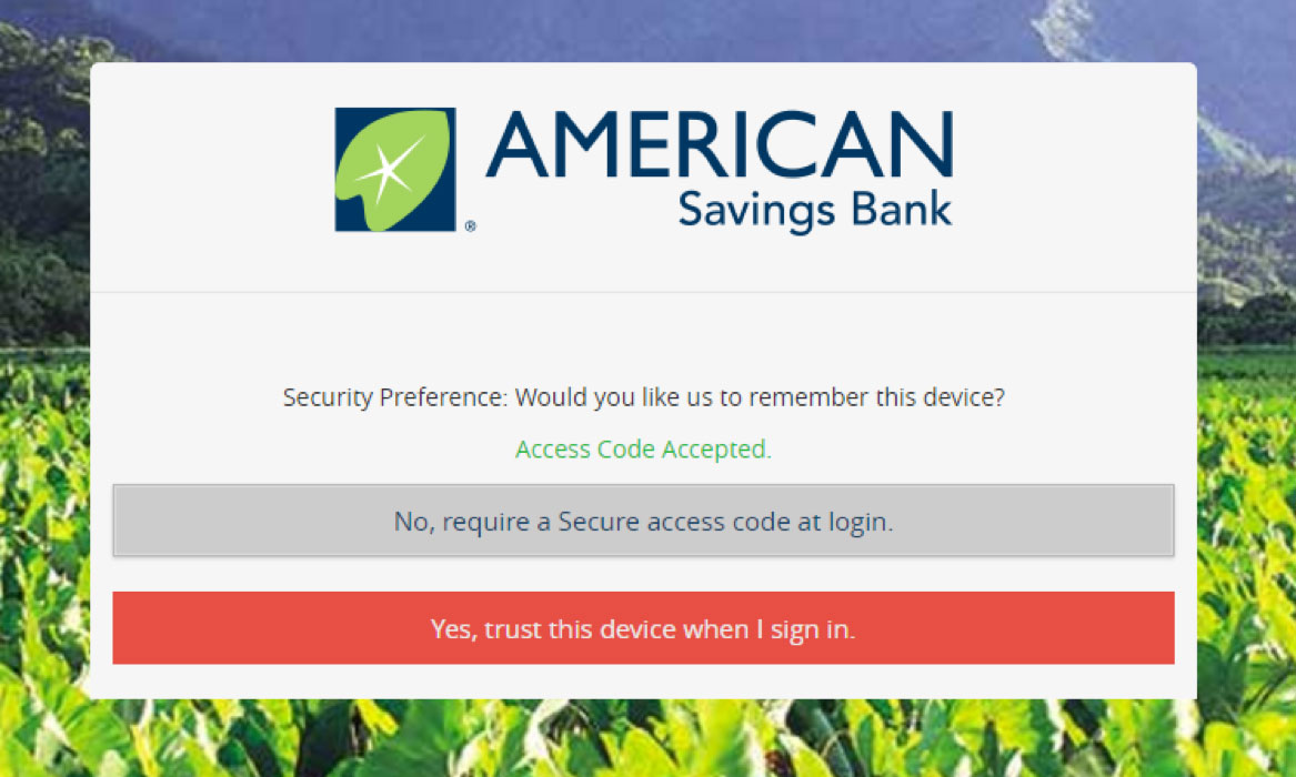 ebanking device security screenshot