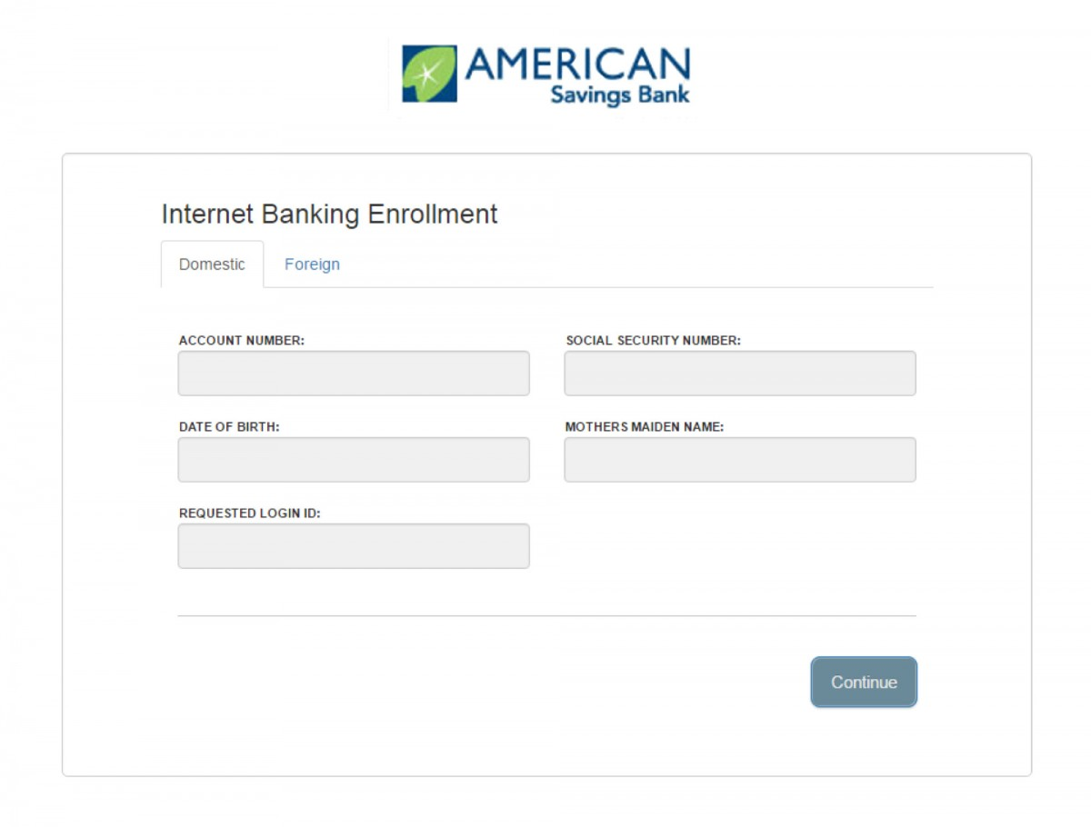 enrollment for ASB eBanking screenshot