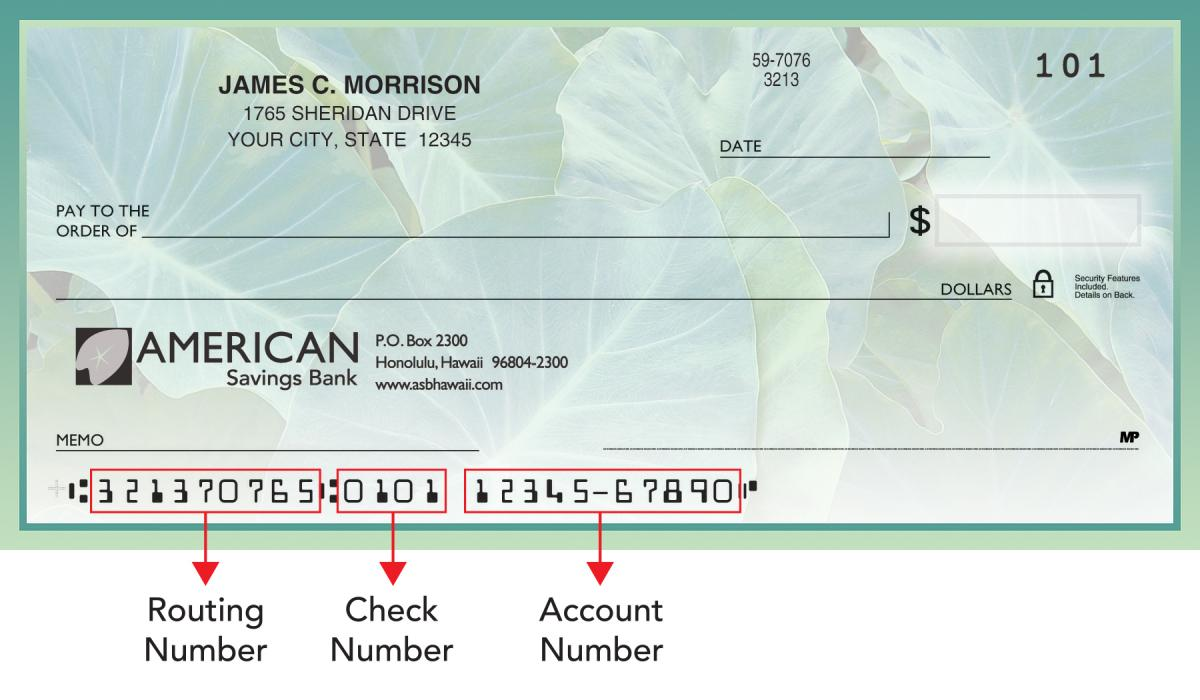 routing number | american savings bank hawaii
