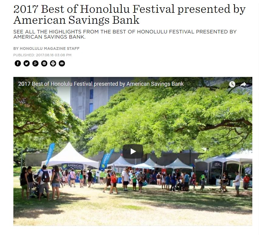 2017 Best of Honolulu Festival presented by American Savings Bank